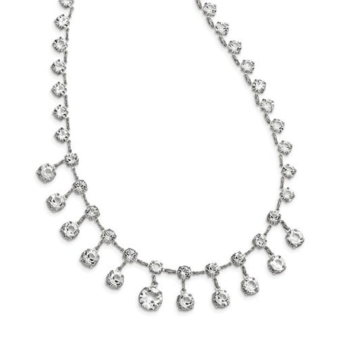 Lumax Silver-Tone Bridal Swarovski Crystal 15in With 3in Ext. Necklace