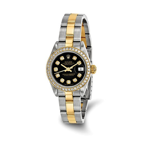 Certified Pre-Owned Rolex Steel/18ky Ladies Diamond Black Watch