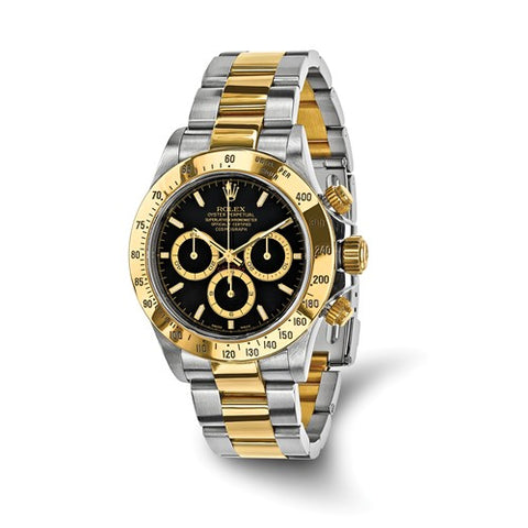 Certified Pre-Owned Rolex Steel/18ky Mens Daytona Black Dial Watch