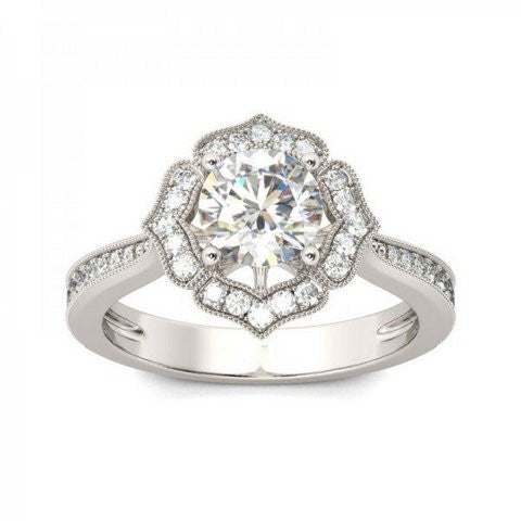 Floral Design Engagement Ring .