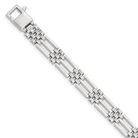 Lumax 14k White Brushed And Polished Link 8.5in Bracelet