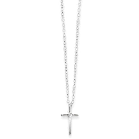 14k White Gold .01ct Diamond Cross Necklace