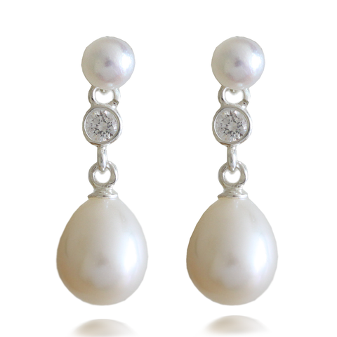White AAA Quality Freshwater Round and Oval Shape Pearl & Cubic Zirconia Drop Sterling Silver Earrings