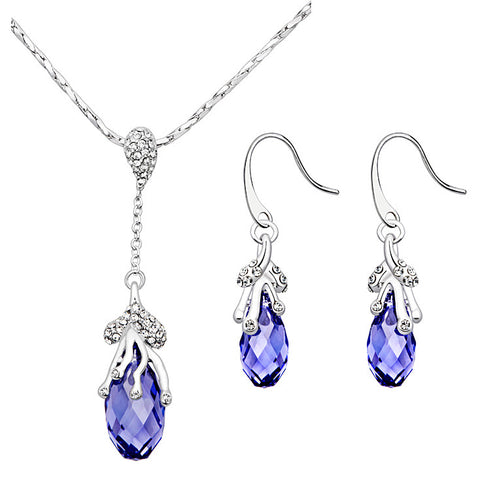 Briolette Tanzanite Drop Pendant and Earrings Set