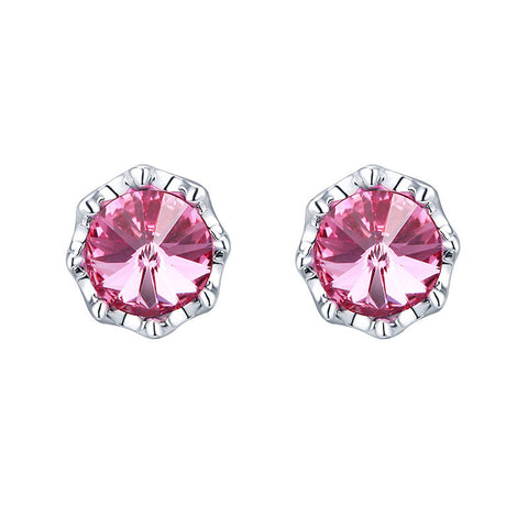 Swarovski® Embellished Flower Stud Earring.  ( rose)