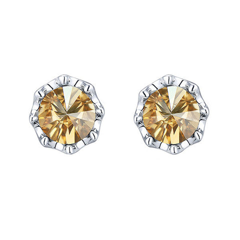 Swarovski® Emebellished Flower Stud Earring. ( yellow topaz)