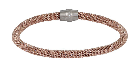 Mesh Silver Magnetic Clasp Bracelets (Rose).