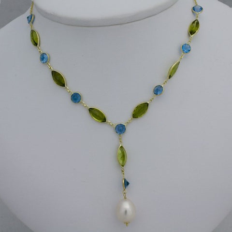 14K Blue Topaz Marquise-Cut Peridot FW Cultured Pearl Necklace