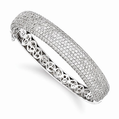 Lumax Sterling Silver Pavé Rhodium-Plated 504 Stone CZ Hinged Bangle