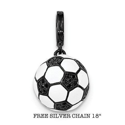 Sterling Silver Rhodium-Plated And CZ 3D Soccer Ball Pendant