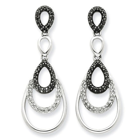 Lumax Sterling Silver Black And White Diamond Earrings