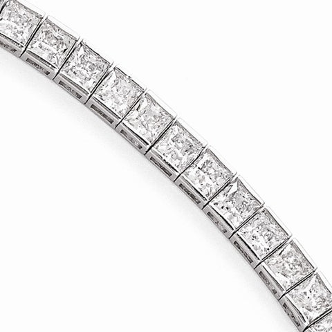 Lumax Sterling Silver Rhodium Plated CZ 7in Bracelet