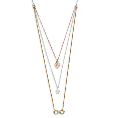 Lumax Sterling Silver With Yellow And Rose-Tone CZ Infinity And Heart 16in Necklace