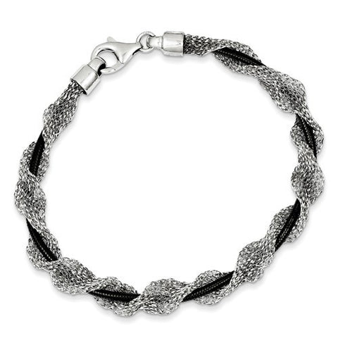 Lumax Sterling Silver And Ruthenium-Plated Fancy Mesh Bracelet