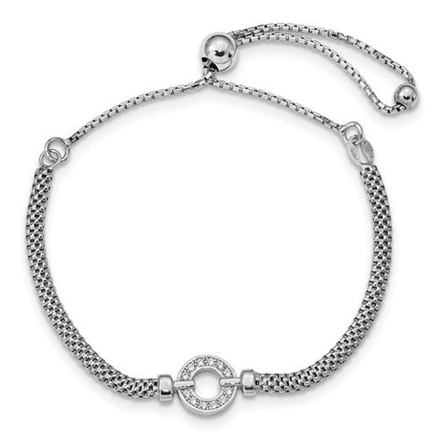 Lumax Leslie's Sterling Silver Polished CZ Adjustable Bracelet