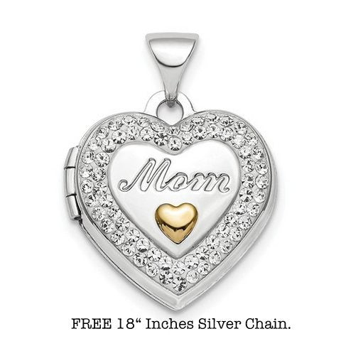 Lumax Sterling Silver Rhodium-Plate Gold-Tone Preciosa Crystal Mom Locket