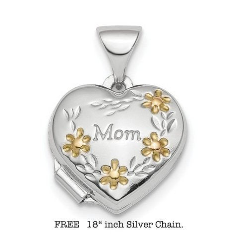 Lumax Sterling Silver Rhodium-Plated And Gold-Tone Floral Mom Heart Locket