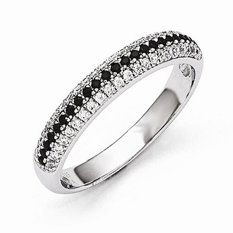 Lumax Sterling Silver Black And White CZ  Polished Ring