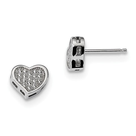 Sterling Silver And CZ Heart Post Earrings