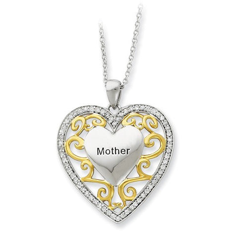 Lumax Sterling Silver And Gold-Plated Mother 18in Heart Necklace