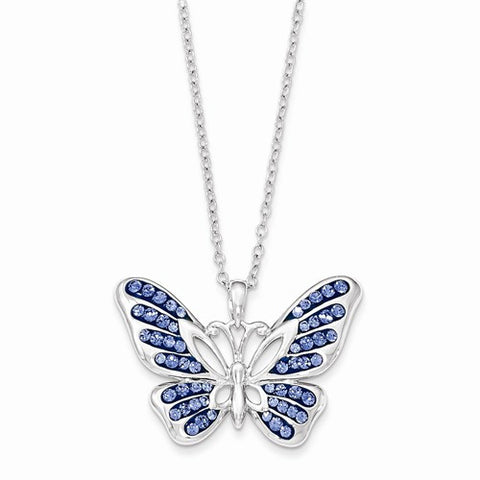 Lumax Sterling Silver Swarovski Crystal Never Give Up Butterfly18in Necklace