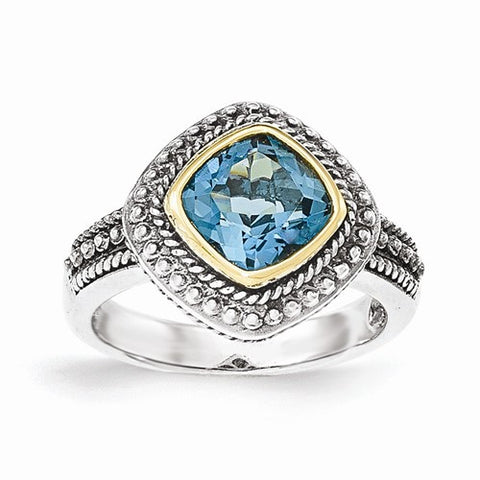 Lumax Sterling Silver With 14k London Blue Topaz Ring