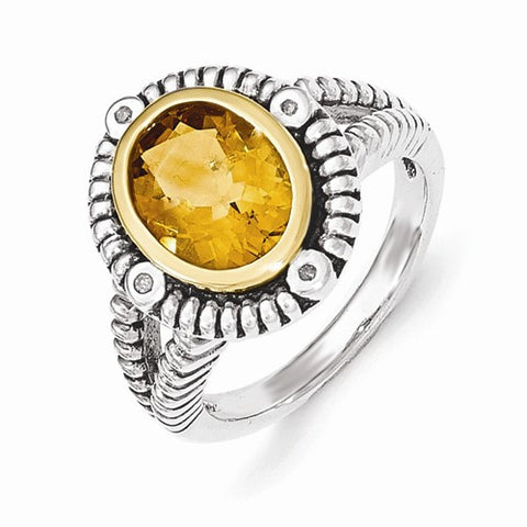 Lumax Sterling Silver With 14k Citrine With Diamond Ring