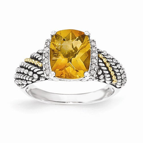 Lumax Sterling Silver With 14k Diamond And Citrine Ring