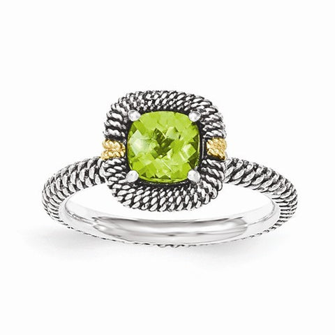 Lumax Sterling Silver With 14ky Peridot Cushion Ring