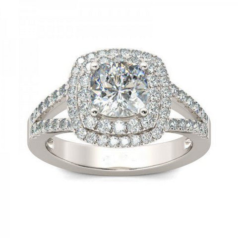 Lumax Halo Split Shank Cushion Cut White Sapphire Ring
