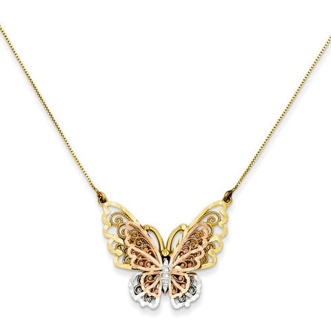 Lumax 14k Yellow And Rose Gold With Rhodium Butterfly Necklace