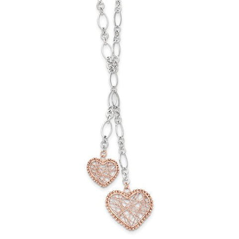 Lumax 14k Two-Tone Wire Wrap Heart With 2in. Ext. Necklace