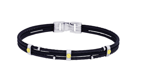 18K Gold Black IP Stainless Steel 2 Row Cable Black Rubber Bracelet