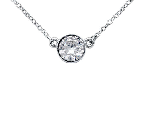 Single Bezel Diamond Pendant.