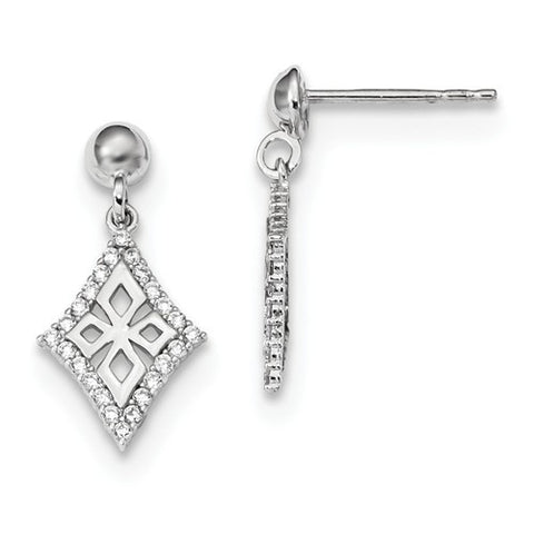 Lumax 14k White Gold CZ Diamond-Shaped Post Dangle Earrings