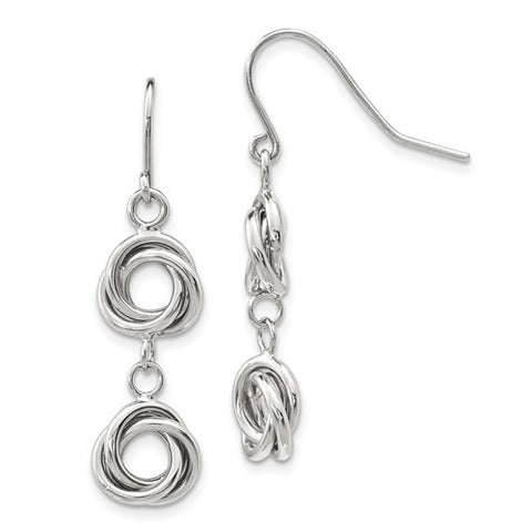 Lumax 14k White Gold Double Love Knot Dangle Earrings