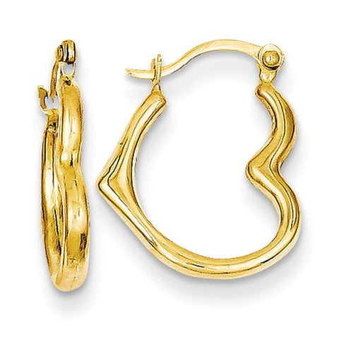 14K Heart Shaped Hollow Hoop Earrings