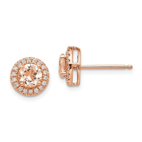 14k Rose Gold Round Morganite And Diamond Halo Earrings