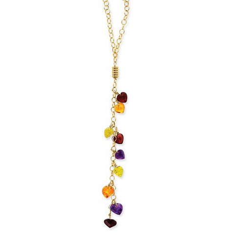 14KY Multi-Color Heart Gemstones Necklace