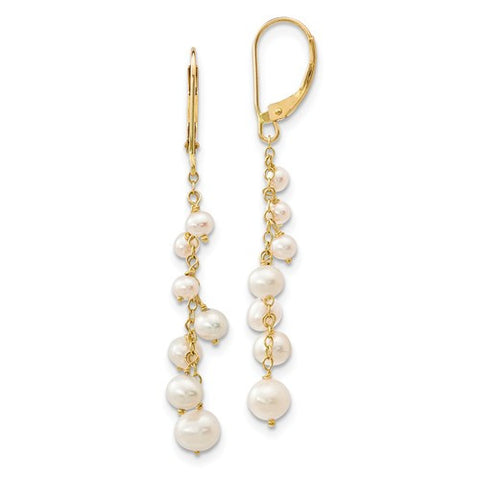Lumax 14K 3-5mm White Rice FWC Pearl Leverback Earrings