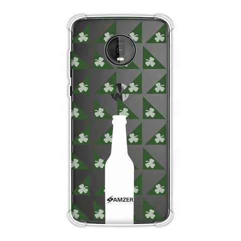 Beer and pattern with shemrock - Green Soft Flex Tpu Case For Motorola Moto Z4