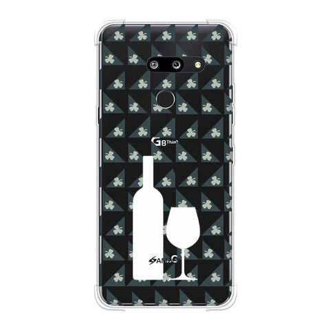 Wine and pattern with shemrock - Teal Soft Flex Tpu Case For LG G8 ThinQ