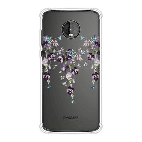 Butterfly poppy- Violet and pale pink Soft Flex Tpu Case For Motorola Moto Z4