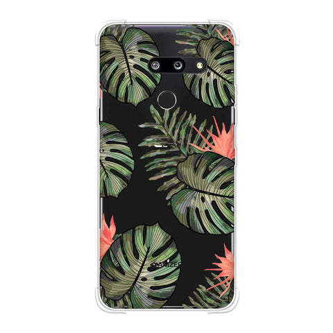 Leaves Over Stripes - Plum Soft Flex Tpu Case For LG G8 ThinQ