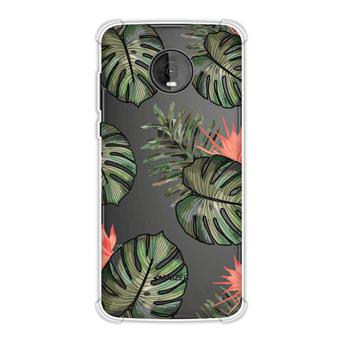 Leaves Over Stripes - Plum Soft Flex Tpu Case For Motorola Moto Z4