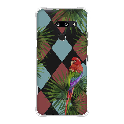Parrot and Palm - Red and Light Blue Soft Flex Tpu Case For LG G8 ThinQ