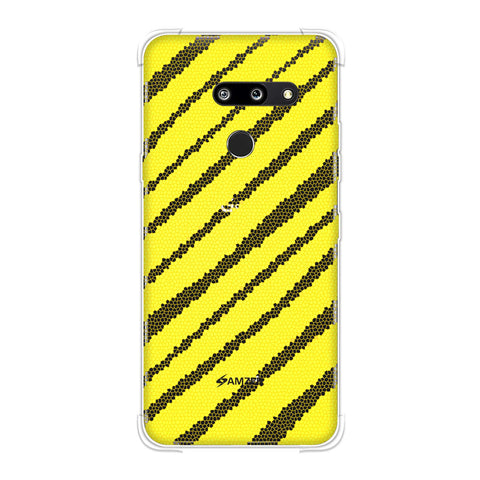 Bees - Stained Glass Diagonal Stripes Soft Flex Tpu Case For LG G8 ThinQ