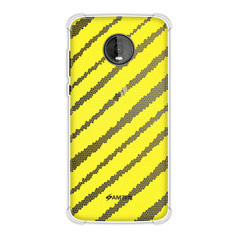 Bees - Stained Glass Diagonal Stripes Soft Flex Tpu Case For Motorola Moto Z4
