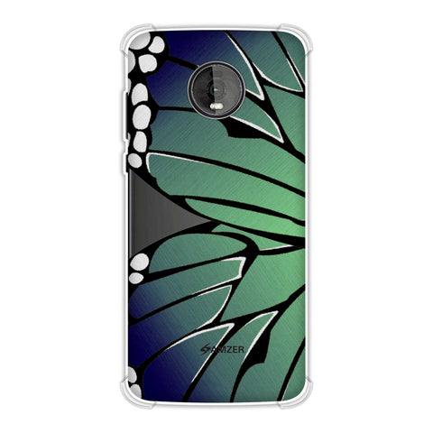 Butterfly - Blue And Green Ombre Fibre Wing Soft Flex Tpu Case For Motorola Moto Z4