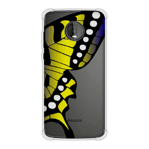 Butterfly - Fibre Wings Gradation - Mustard To Blue Soft Flex Tpu Case For Motorola Moto Z4